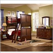 Lea Elite Covington Twin over Twin Bunk Bed w/ Storage in Cherry