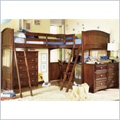 Lea Deer Run L-Shaped Wood Bi-Loft Bunk Bed In Brown Cherry Finish 