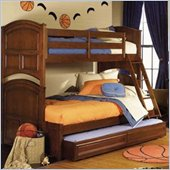 Lea Deer Run Twin Over Full Wood Bunk Bed in Brown Cherry Finish