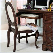 Lea Jessica McClintock Heirloom Upholstered Desk Chair with Cream Fabric and Dark Cherry Wood Finish