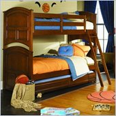 Lea Deer Run Twin Over Twin Wood Bunk Bed in Brown Cherry Finish