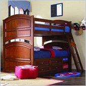 Lea Deer Run Twin over Twin Wood Bunk Bed with Captain's Bed Box in Brown Cherry Finish