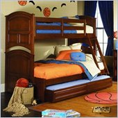 Lea Deer Run Twin Over Full Wood Bunk Bed with Twin Trundle Unit/ Storage Drawer in Brown Cherry Finish
