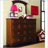 Lea Deer Run Bureau Double Dresser and Mirror Set in Brown Cherry