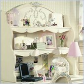 Lea Jessica McClintock Romance 2 Shelf Computer Hutch with Cork Back and Antique White Wood Finish
