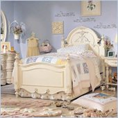 Lea Jessica McClintock Romance Kids Panel Bed in Antique White Finish