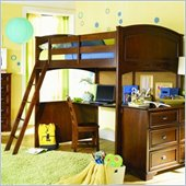 Lea Deer Run Loft Bunk Bed With Desk and Nightstand in Brown Cherry Finish