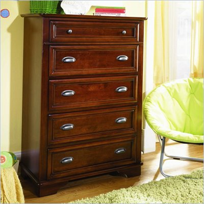 Lea Deer Run Kids 5 Drawer Chest in Brown Cherry Finish