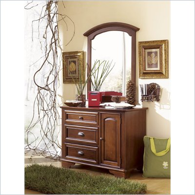 Lea Deer Run Kids 3 Drawer Single Brown Cherry Dresser and Mirror Set