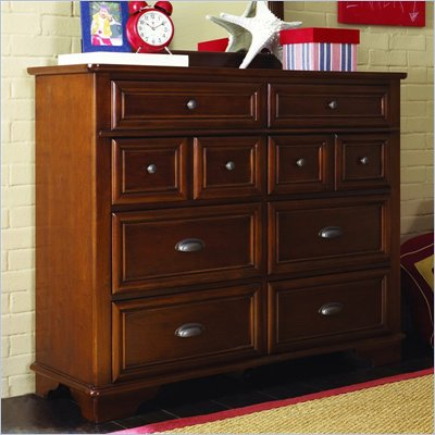 Lea Deer Run Bureau Double Dresser in Brown Cherry Finish