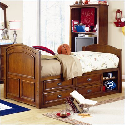 Lea Deer Run Kids Captain's Bed in Brown Cherry Finish