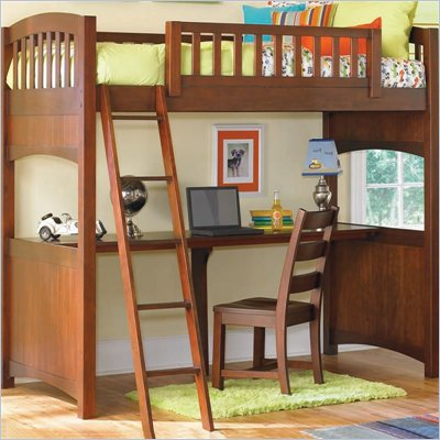 Lea Dillon Twin Wood Loft Bunk Bed with Desk in Distressed Brown Cherry Finish