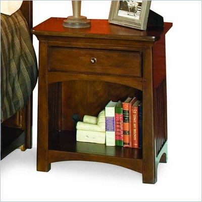 Lea Elite Crossover Wooden Nightstand in Burnished Cherry Finish