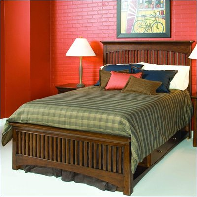 Lea Elite Crossover Slat Bed in Burnished Cherry Finish