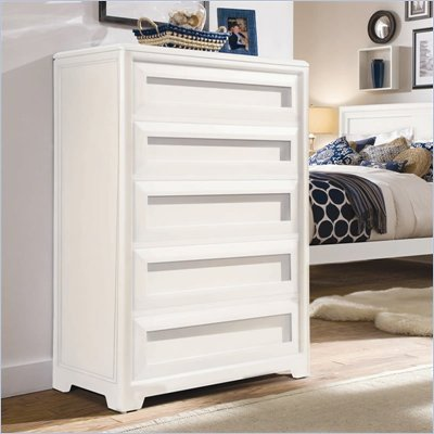 Lea Elite Reflections Kids 5 Drawer Chest in Aspen White Finish