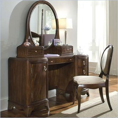 Lea Elite Rhapsody Wood Pedestal Vanity/Desk in Dark Cherry