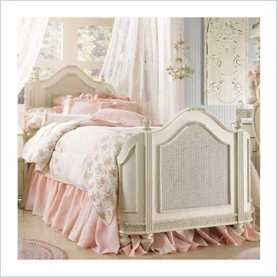 Lea Emma's Treasures Kids Mansion Panel Bed in Vintage White Finish