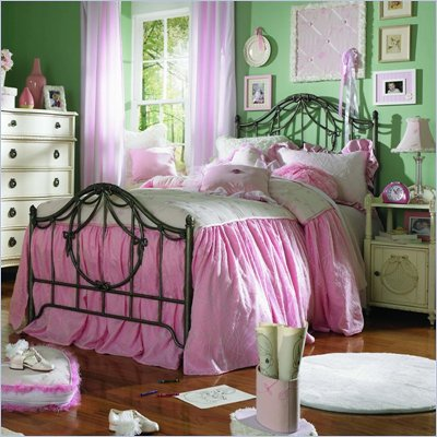 Lea Emma's Treasure Kids Vintage White Metal Bed 4 Piece Bedroom Set