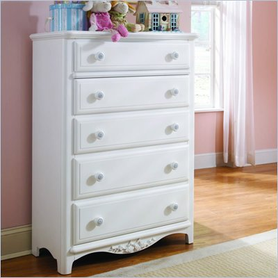 Lea Haley 5 Drawer Chest in White Finish