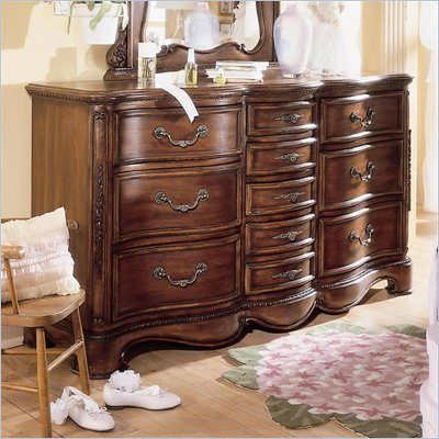 Lea Jessica McClintock Heirloom 10 Drawer Triple Dresser with Dark Cherry Wood Finish
