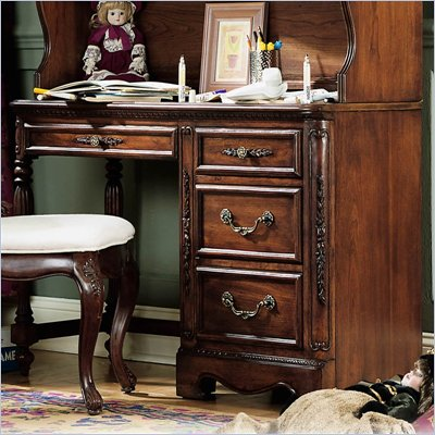 Lea Jessica McClintock Heirloom 4 Drawer Wood Student Desk in Dark Cherry Wood