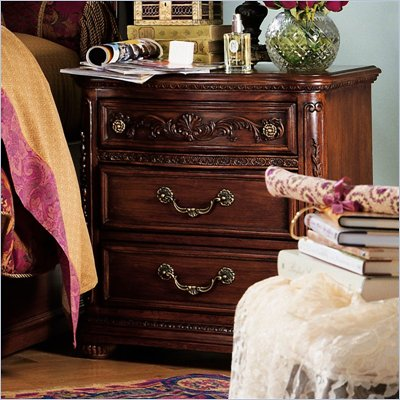 Lea Jessica McClintock Heirloom 3 Drawer Nightstand with Dark Cherry Wood Finish