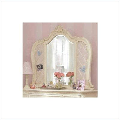 Lea Jessica McClintock Romance Ribbon-Board Vanity Mirror with Antique White Wood Finish