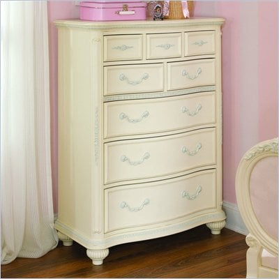 Lea Jessica McClintock Romance Kids 8 Drawer Chest in Antique White Finish