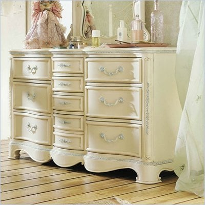 Lea Jessica McClintock Romance 10 Drawer Triple Dresser with Antique White Wood Finish