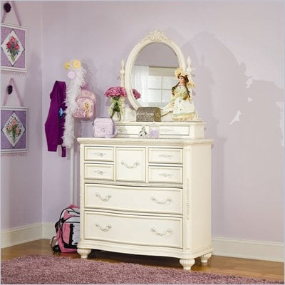 Lea Jessica McClintock Romance 7 Drawer Single Dresser and Mirror Set