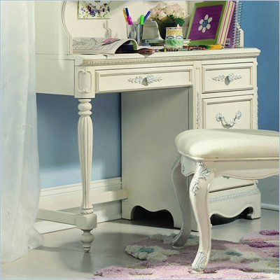 Lea Jessica McClintock Romance 4 Drawer Wood Student Desk in Antique White