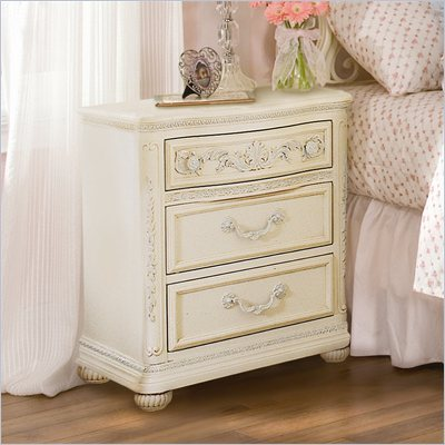Lea Jessica McClintock Romance 3 Drawer Nightstand with Antique White Wood Finish