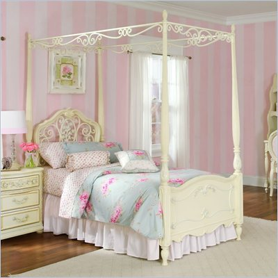 Lea Jessica Mcclintock Romance Metal and Wood Canopy Bed in Antique White