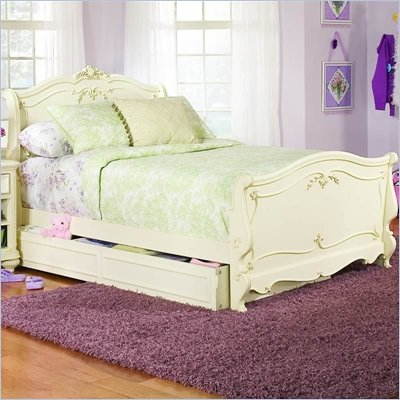 Lea Jessica McLintock Romance Kids Wood Sleigh Bed in Antique White 4 Piece Bedroom Set