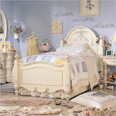 Lea Jessica McClintock Romance Kids Antique White Wood Panel Bed 5 Piece Bedroom Set