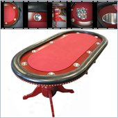 Trademark 90 Texas Holdem Poker table with Racetrack in Red