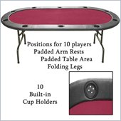 Trademark Global Full Size Texas Holdem Folding Poker Table in Red