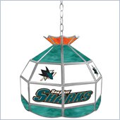 Trademark NHL San Jose Sharks Stained Glass Tiffany Lamp - 16 inch diameter