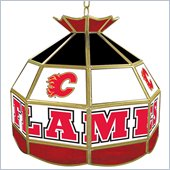 Trademark NHL Calgary Flames Stained Glass Tiffany Lamp - 16 inch diameter