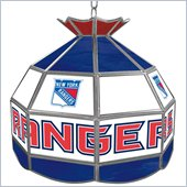 Trademark NHL New York Rangers Stained Glass Tiffany Lamp - 16 inch diameter