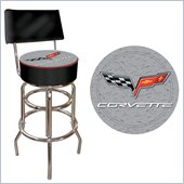 Trademark Retro Corvette C6 Padded Bar Stool with Back - Black/Silver