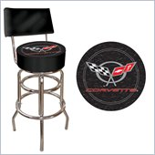 Trademark Retro Corvette C5 Padded Bar Stool with Back - Black