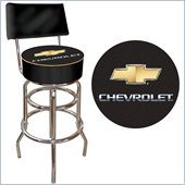 Trademark Retro Chevrolet Padded Bar Stool with Back - Black/Silver