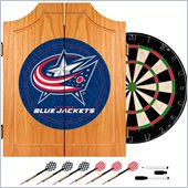 Trademark NHL Columbus Blue Jackets Dart Cabinet includes Darts and Board