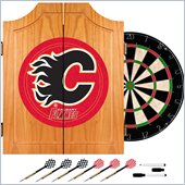 Trademark NHL Calgary Flames Dart Cabinet includes Darts and Board