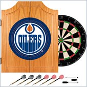 Trademark NHL Edmonton Oilers Dart Cabinet includes Darts and Board