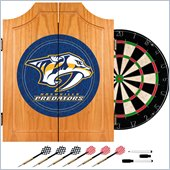 Trademark NHL Nashville Predators Dart Cabinet includes Darts and Board
