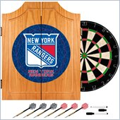 Trademark NHL New York Rangers Dart Cabinet includes Darts and Board