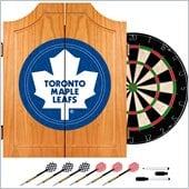 Trademark NHL Toronto Maple Leafs Dart Cabinet includes Darts and Board