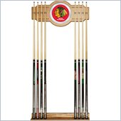 Trademark NHL Chicago Blackhawks 2 piece Wood and Mirror Wall Cue Rack